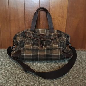 Fossil overnight traveling duffle bag wool plaid